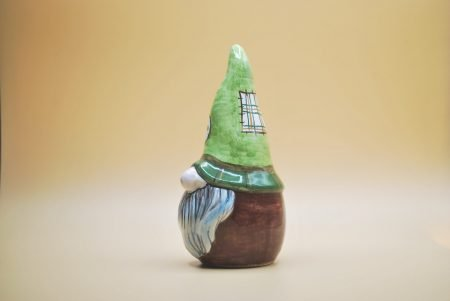gnomo cappello verde ceramica